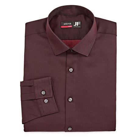 JF J.Ferrar Mens Coolmax Point Collar Long Sleeve Stretch Dress Shirt, 15-15.5 34-35, Red
