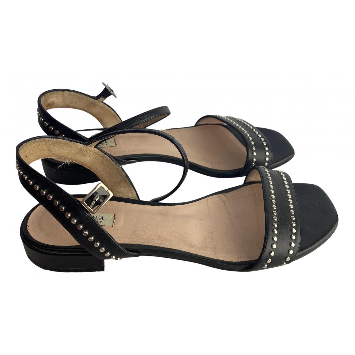 Furla - Sandales   pour femme en cuir - noir