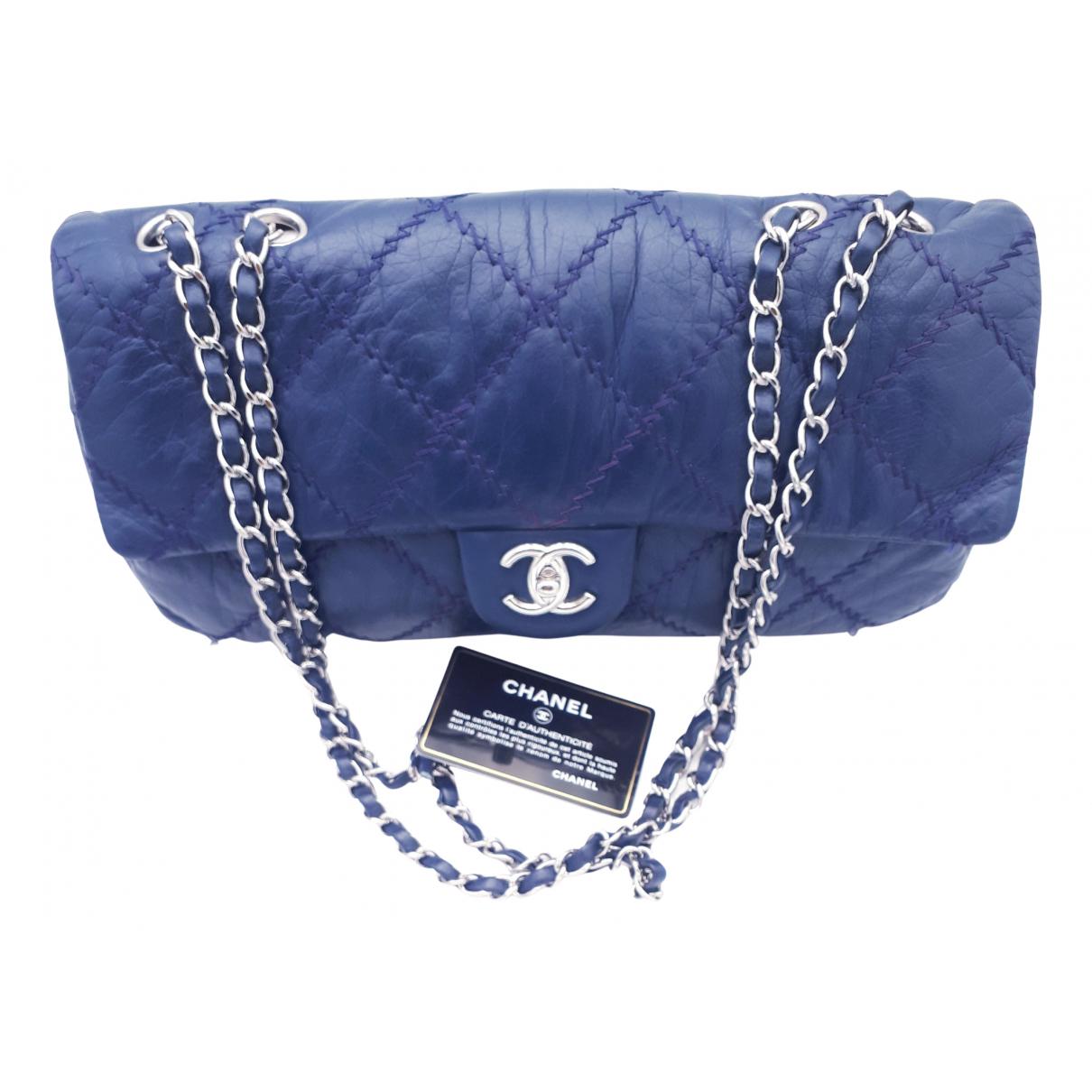 Chanel Timeless/Classique Blue Leather handbag for Women N