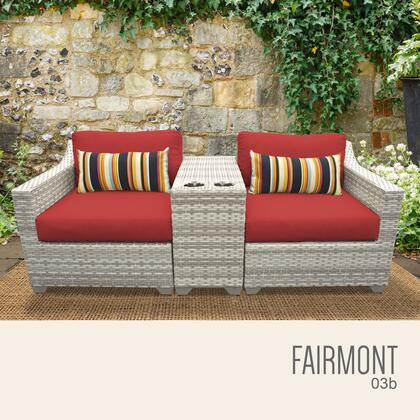 FAIRMONT-03b-TERRACOTTA Fairmont 3 Piece Outdoor Wicker Patio Furniture Set 03b with 2 Covers: Beige and