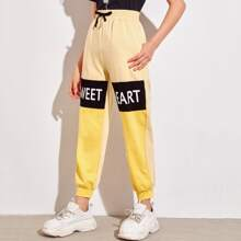 Girls Letter Graphic Colorblock Sweatpants