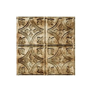 Fasade Traditional Style/Pattern 1 Decorative Vinyl 2ft x 2ft Lay In Ceiling Tile in Bermuda Bronze (5 Pack) (12x12 Inch Sample)