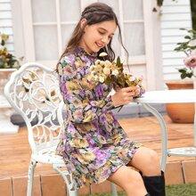 Chiffon Kleid mit Raffung, mehrschichtigem Raffungsaum und ueberallen Blumen Muster