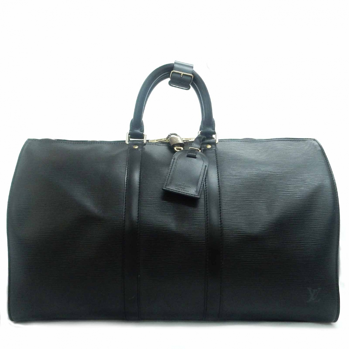 Louis Vuitton - Sac de voyage Keepall pour femme en cuir - noir