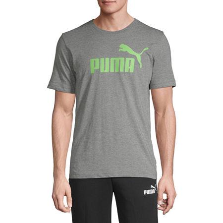 Puma Essential Logo Mens Crew Neck Short Sleeve T-Shirt, Large , Gray