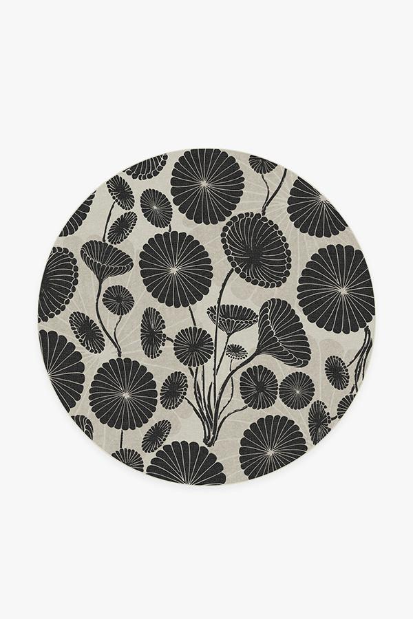 Washable Rug Cover & Pad | Cynthia Rowley Pompom Black & White Rug | Stain-Resistant | Ruggable | 6 Round