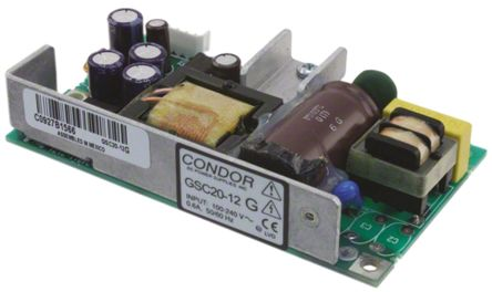 SL POWER CONDOR , 20W Embedded Switch Mode Power Supply SMPS, 12V dc, Open Frame