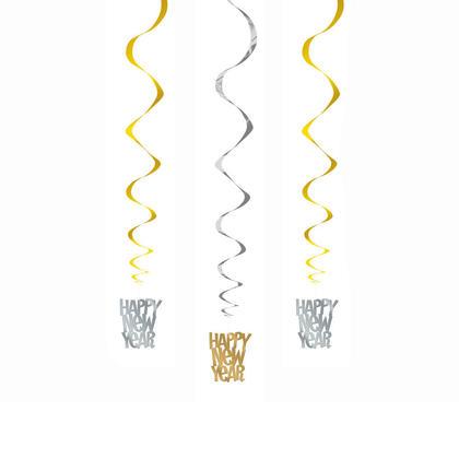 Décorations tourbillonnantes suspendues du nouvel an en or et en argent, 26