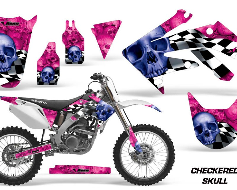 AMR Racing Dirt Bike Graphics Kit Decal Sticker Wrap For Honda CRF250R 2004-2009áCHECKERED BLUE PINK