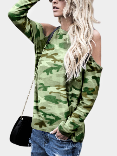 Yoins Camouflage Cold Shoulder Long Sleeves T-shirt