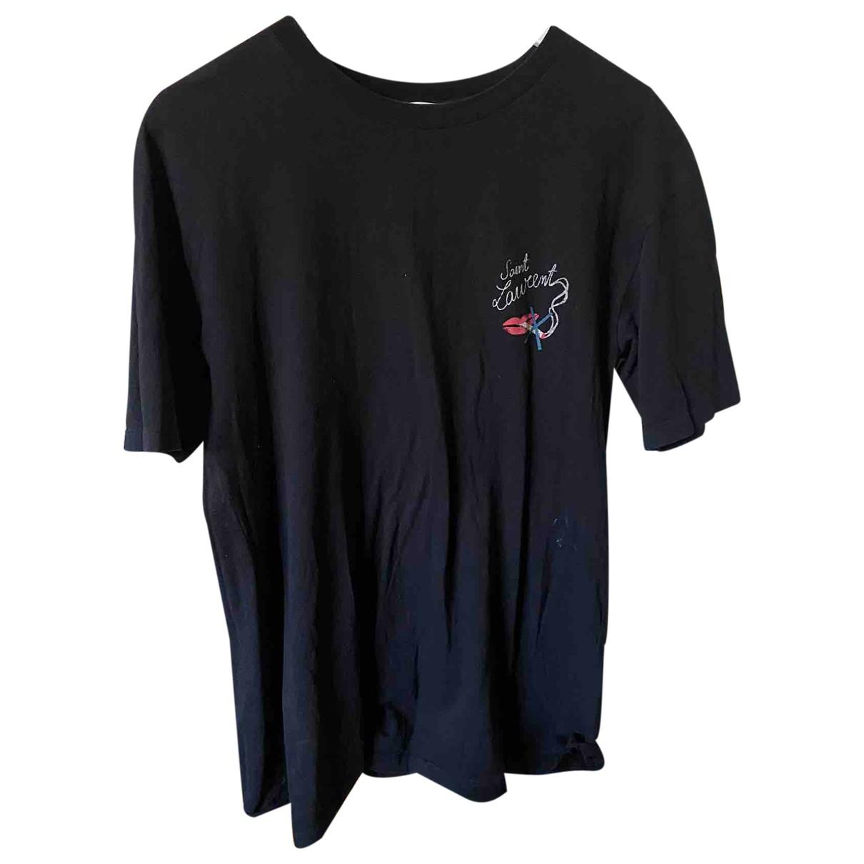 Saint Laurent N Black Cotton T-shirts for Men XS International