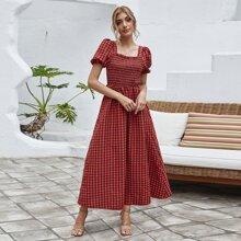 Square Neck Gingham Shirred Dress