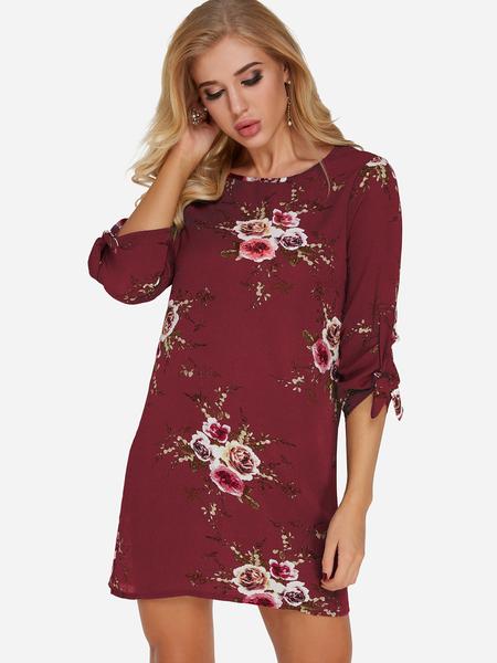 Yoins Burgundy Random Floral Print Tie-up at cuffs Mini Length Dress