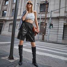 Shirred Waist PU Leather Shorts