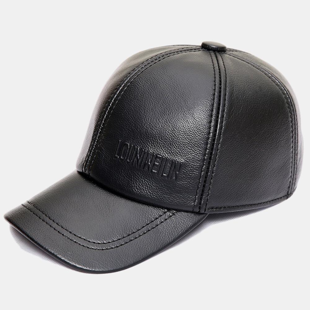 Men Vintage Genuine Leather Baseball Cap Outdoor Caps Adjustable Caps