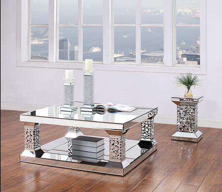 Kachina Collection 81425CE 2 PC Living Room Table Set with Square Shaped Coffee Table and Square Shaped End Table in Mirrored