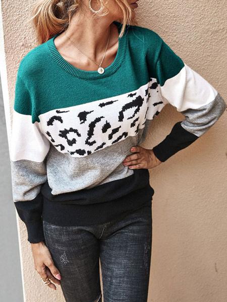 Milanoo Jerseys para mujer Sueteres de manga larga con cuello joya y estampado de leopardo rosa