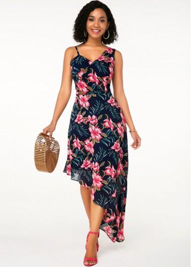 Wedding Guest Dress Sleeveless Flower Print Asymmetric Hem Dress - M