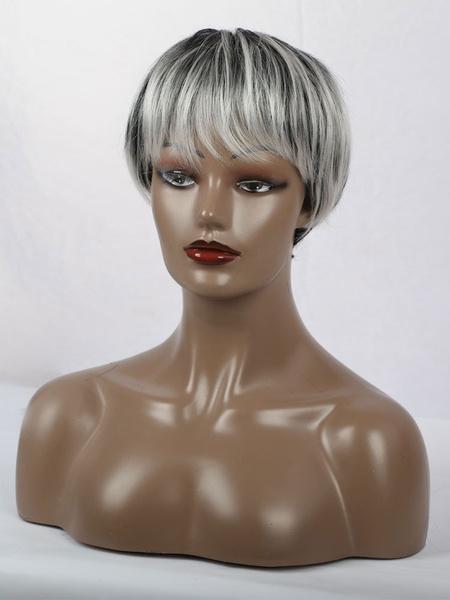 Milanoo Pelucas de cabello humano para mujeres Pelucas de cabello humano corto casual con cabello mixto gris claro despeinado