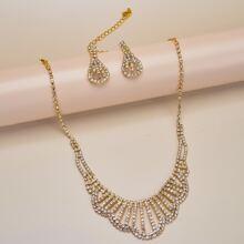Rhinestone Decor Necklace & Earrings