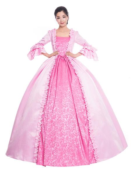 Milanoo Victorian Dress Costume Women's Pink Ruffle Bows Trumpet Short Sleeves Round Neckline Ball Gown Victorian Era Style Vintage Clothing Halloween