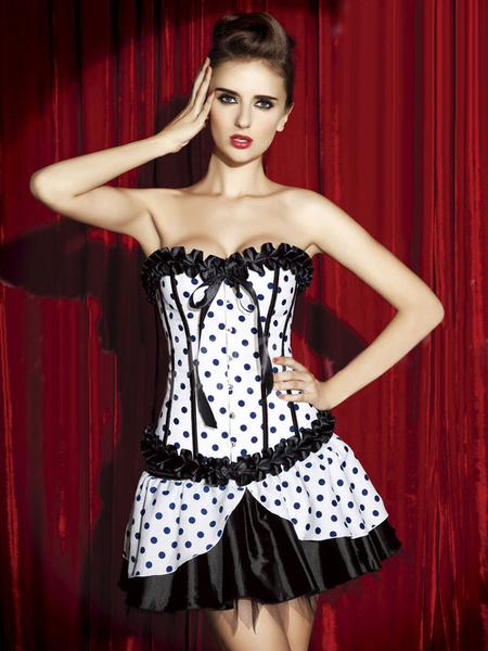Milanoo Blanco arcos Lolita-Vestido corse de lunares para las mujeres