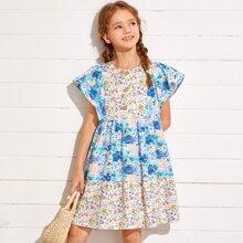 Maedchen Kleid mit Knopfen vorn und Blumen Muster