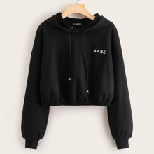 Drop Shoulder Letter Embroidery Hoodie
