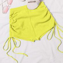 Neon Yellow Drawstring Ruched Knit Shorts