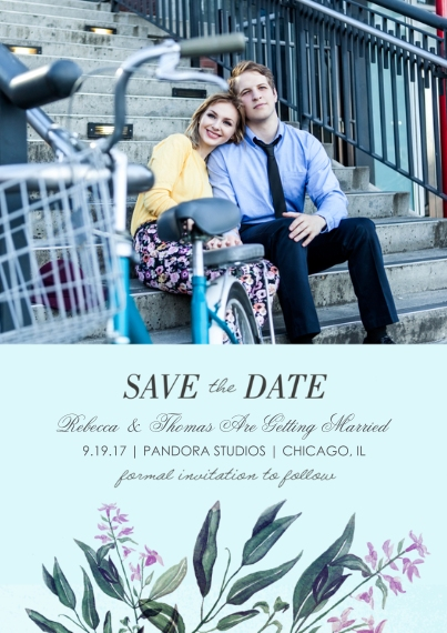Save the Date 5x7 Cards, Standard Cardstock 85lb, Card & Stationery -Wedding Botanicals - Save the Date