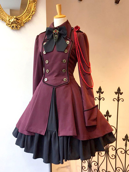 Milanoo Gothic Lolita Tea Party Dress Long Sleeve Overcoat Lolita Dress