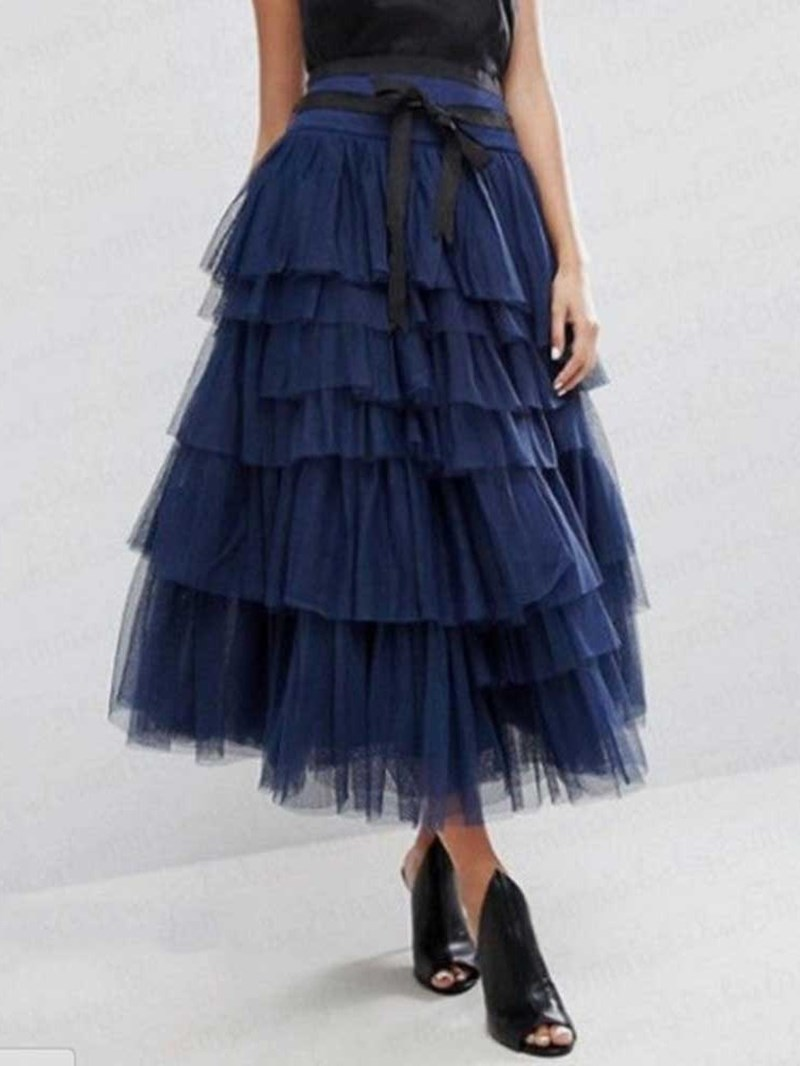 Ericdress Ankle-Length Mesh Cupcake Skirts Skirt