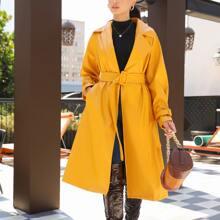 PU Leder Mantel mit Reverskragen und Guertel
