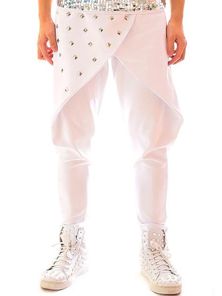 Milanoo Jazz Dance Costume Men Pants White Beaded Hip Hop Dancing Bottoms