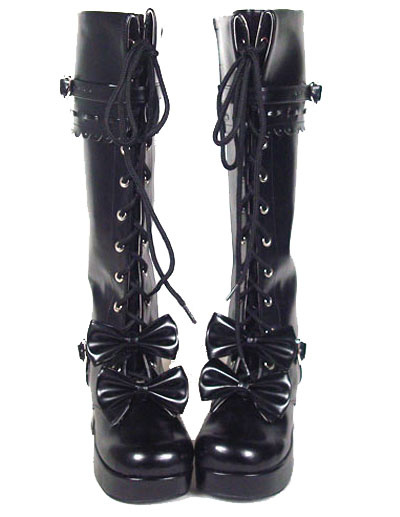Milanoo Sweet Lolita Boots Chunky Heels Platform Bows Lace Up Lolita Boots