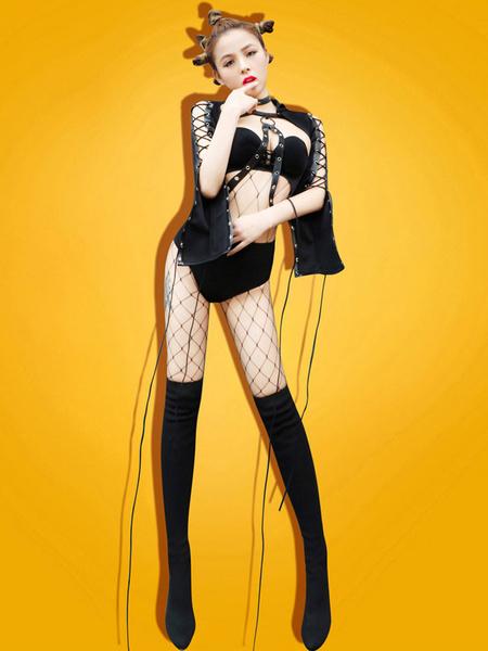 Milanoo Disfraz Halloween Disfraz de Jazz Dance Costume para mujer negro DS Sexy Club Wear Top y pantalon corto Carnaval Halloween