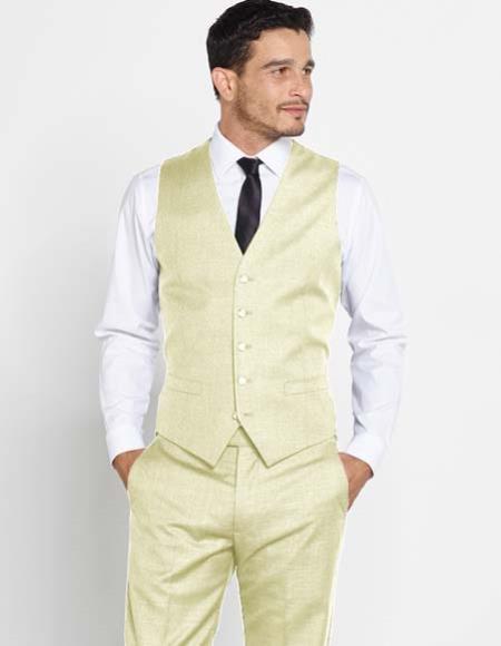 Mens Wool Vest Ivory Regular Fit Dress Pants Color Shirt Tie
