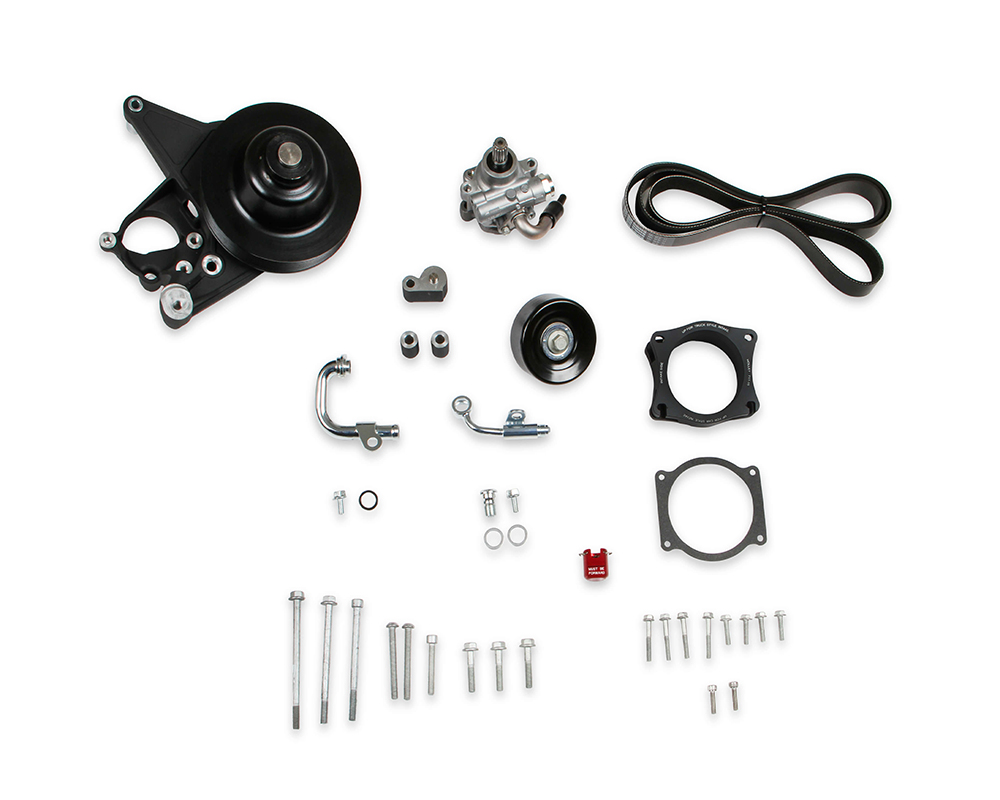 Holley 20-222BK Power Steering Add-On System for LT4 Wet Sump Engines Black Finish