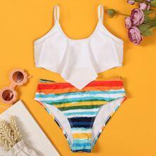Girls Colorful Striped Ruffle Bikini Swimsuit