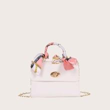Bolsa cartera de niñas con diseño de pañuelo con cerradura girante