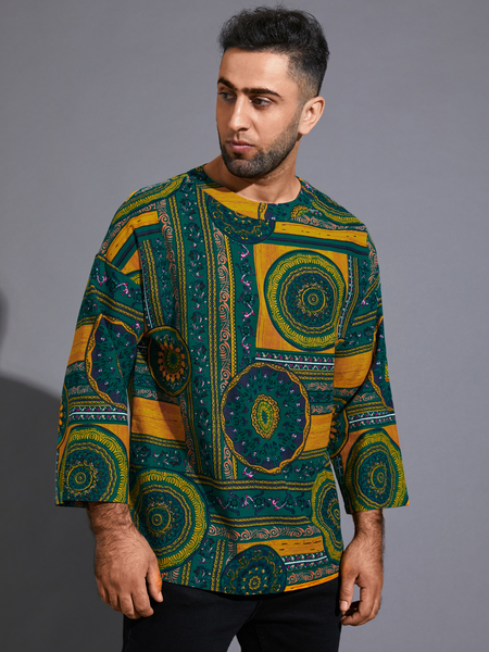 Yoins Men Casual Ethnic Style Tribal All Over Print Loose T-Shirt