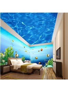 Blue Ocean with Fish Pattern 3D Waterproof Ceiling and Wall Murals