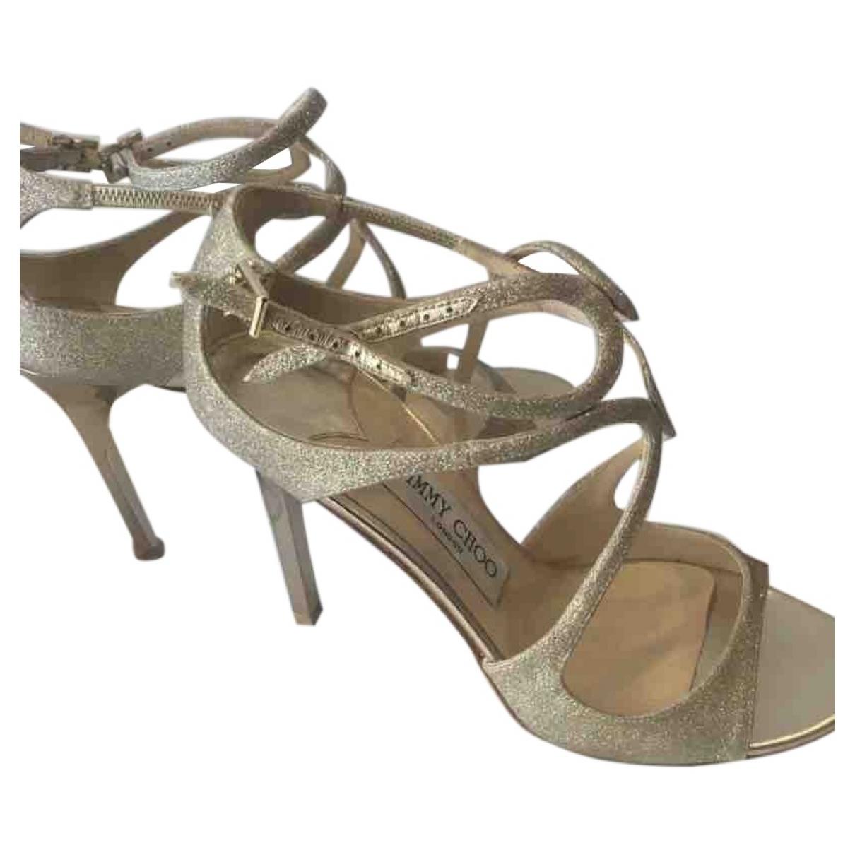 Jimmy Choo Lance Gold Glitter Sandals for Women 37.5 EU