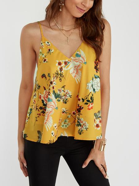 Yoins Yellow Random Floral Print V-neck Cami Top