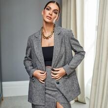 Notch Collar Button Up Linen Look Blazer