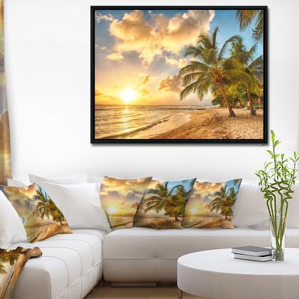 FL11484-42-32-FLB Gorgeous Beach Of Island Barbados - Modern Seascape Framed Canvas Artwork -