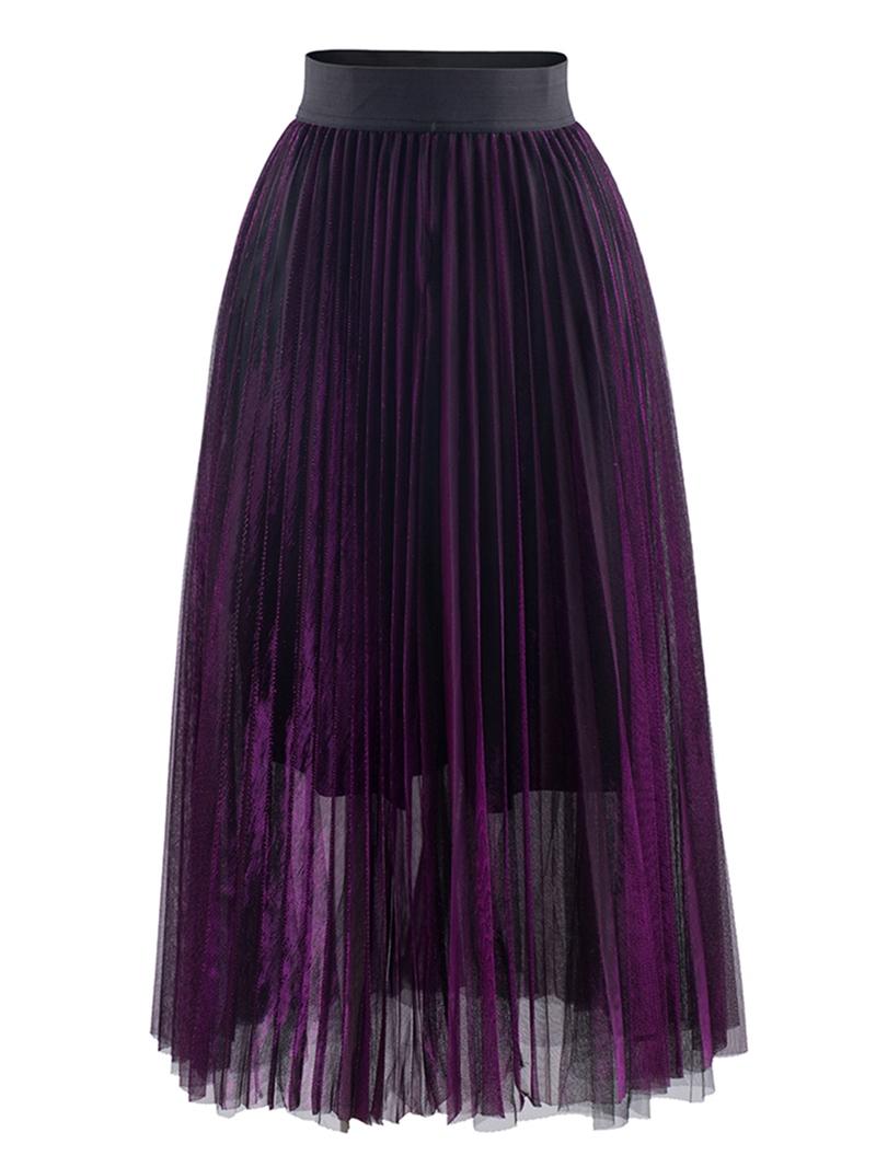 Ericdress Mesh Mid-Calf Pleated Women's Skirt