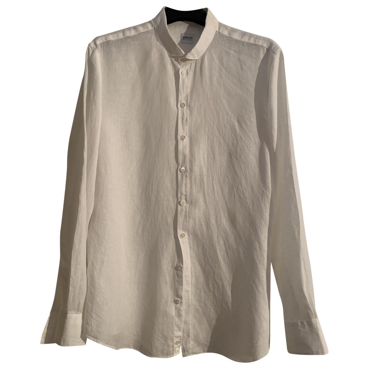 Armani Collezioni - Chemises   pour homme en lin - blanc