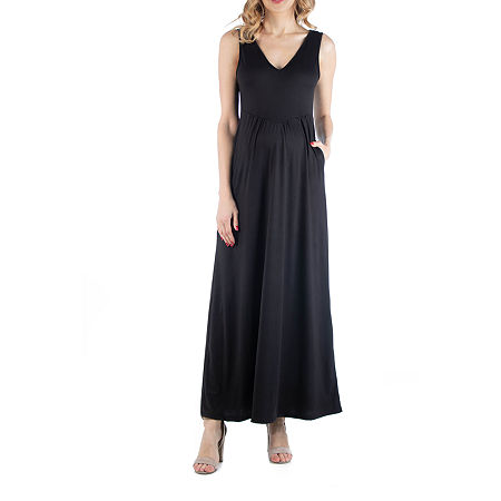 24/7 Comfort Apparel Maxi Sleeveless Dress with Pockets, X-large , Black