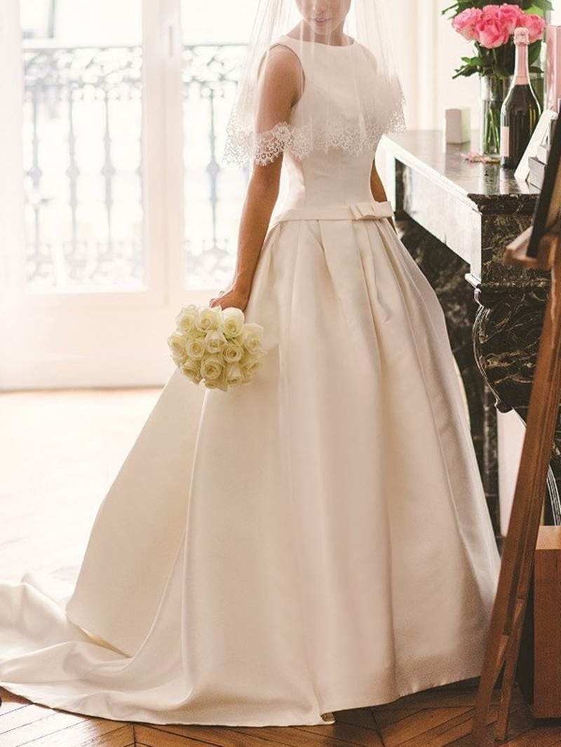 Ericdress Straps Button Chapel Train Bowknot Hall Wedding Dress